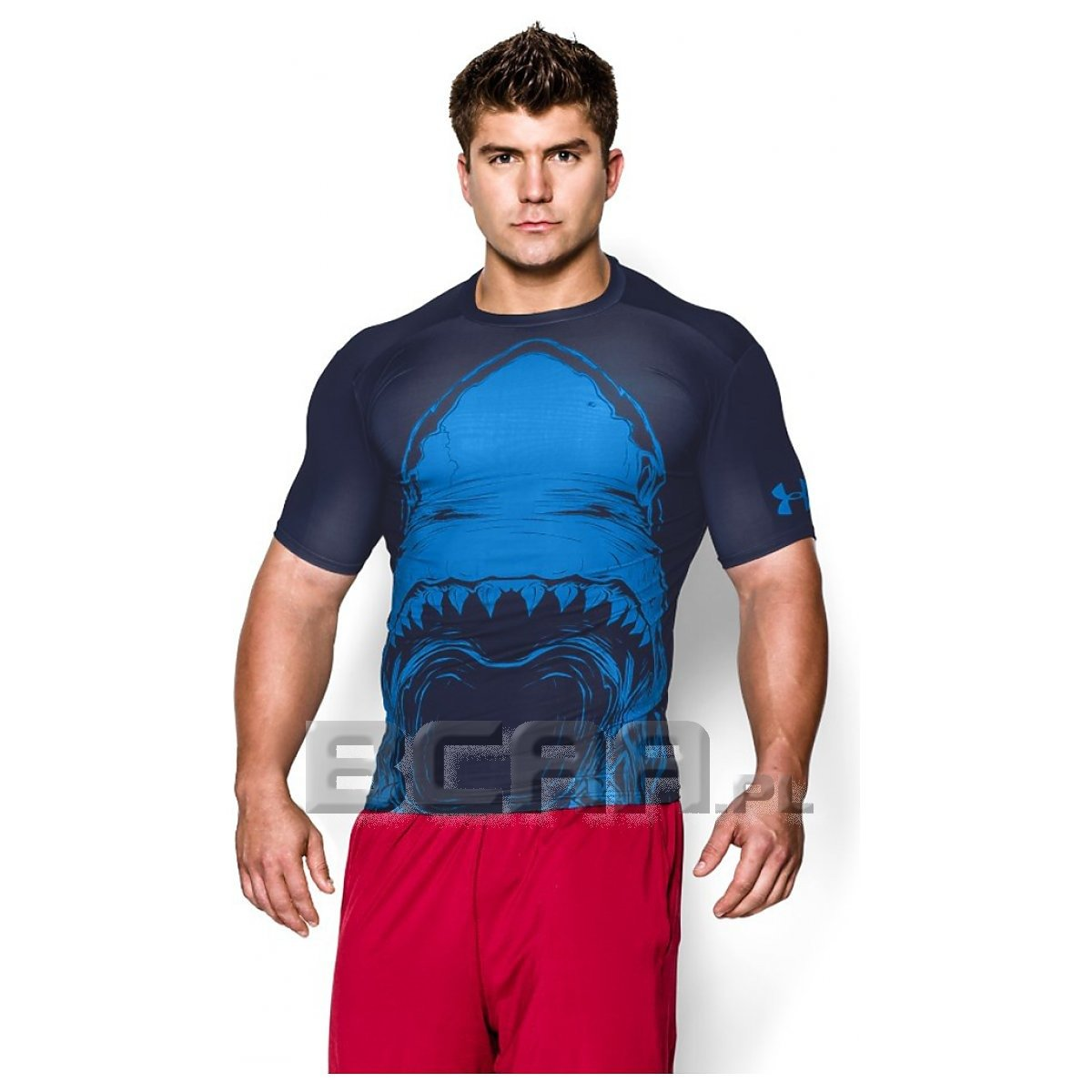 Men s 100 beast shark compression short sleeve t shirt for Beast mode shirt under armour