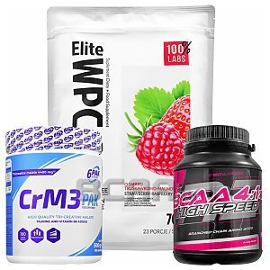 100% LABS Elite WPC 80 Instant + Natural Creatine + Elite BCAA 700g+400g+400g [promocja] 1/4