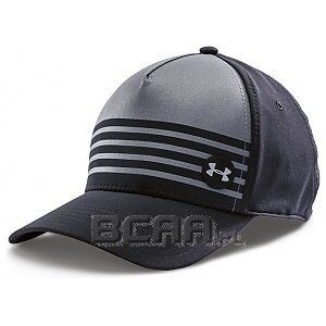 Under Armour Czapka Striped Out Stretch Fit Cap czarno-szary 1/2
