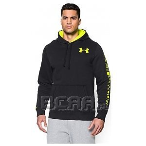 Under Armour Bluza Men`s Storm Rival Cotton Graphic Hoody 1255824-001 czarno-seledynowy 1/4