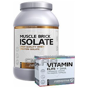 Formotiva Muscle Brick Isolate + Vitamin Elite+DHA 2000g+90kaps [promocja] 1/3