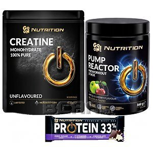 Go On Nutrition Pump Reactor + Creatine + Baton Protein Bar 33% 360g+400g+50g 1/1