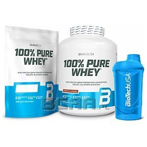 BioTech USA 100% Pure Whey + Shaker 2270g+1000g+600ml 1/4