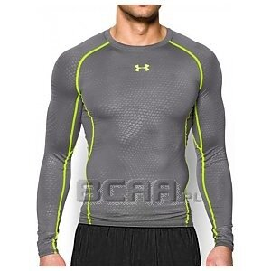 Under Armour HeatGear Compression Printed Longsleeve T-Shirt szaro-seledynowy 1/6